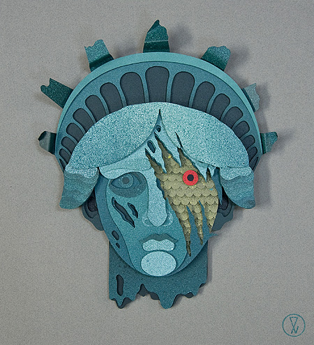 liberty falls 3d paper collage by artist eelus