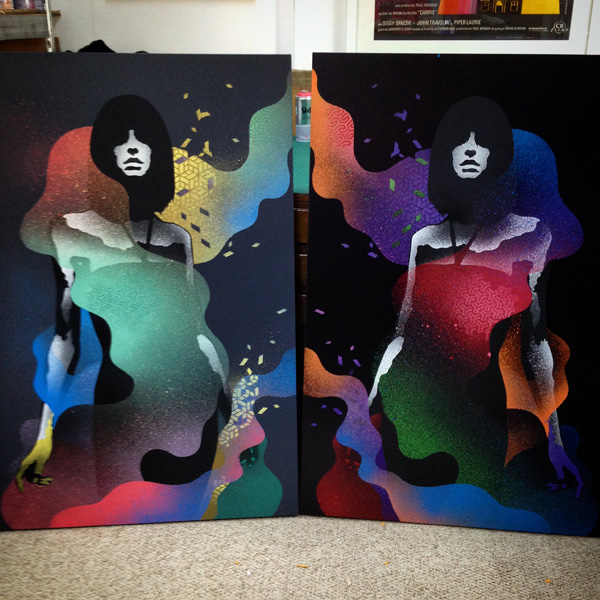 Summoning 1&2 stencil art on canvas by Eelus