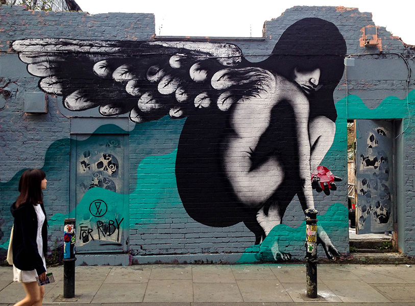 Angel for Ruby street art by Eelus