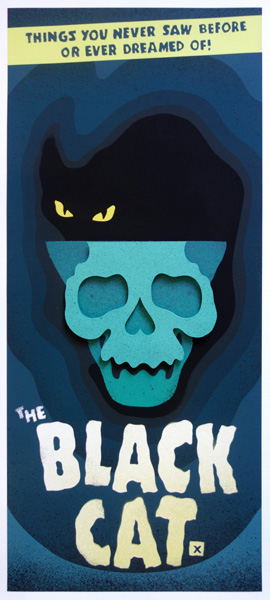 The Black Cat Screen Print by Eelus