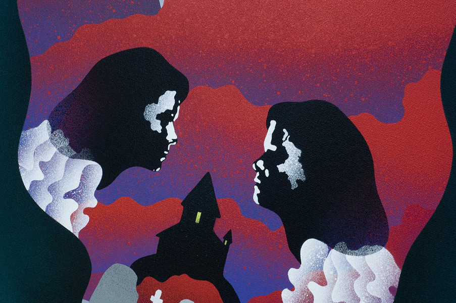Twins of Evil, Spray Paint on Canvas by Eelus