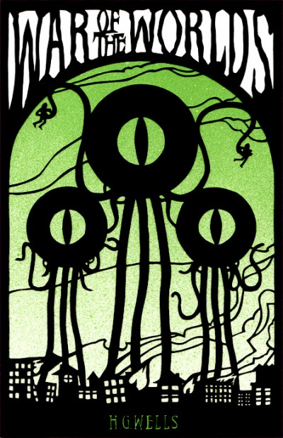 War of the Worlds, papercut book cover by Eelus