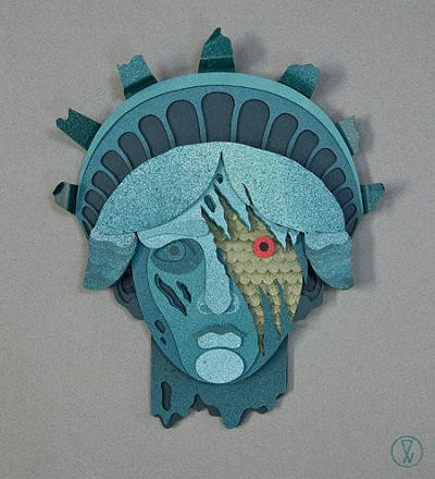 Liberty Falls, Cloverfield Inspired 3D Paper Collage by Eelus
