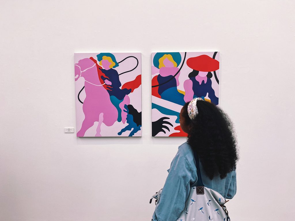 Lee Eelus paintings at the RIGHT HERE, RIGHT NOW group show at Saatchi Gallery, London.